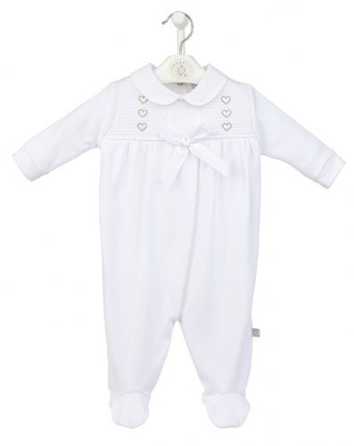 Smocked Sleepsuit with Hearts